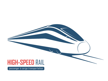 Modern high speed rail emblem, icon, label, silhouette.