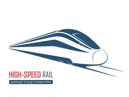Modern high speed rail emblem, icon, label, silhouette.