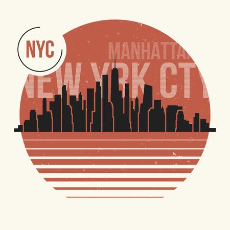 gráfico de la ciudad de Nueva York, diseño de la camiseta, camiseta de impresión, tipografía, emblema. Ilustración del vector. Ilustración de vector