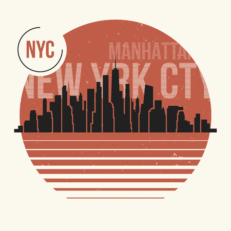 New York City graphic, t-shirt design, tee print, typography, emblem. Vector illustration.