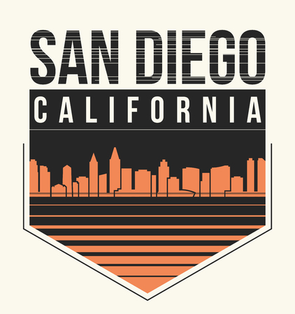 San Diego graphic, t-shirt design, tee print, typography, emblem. Vector illustration. Illustration