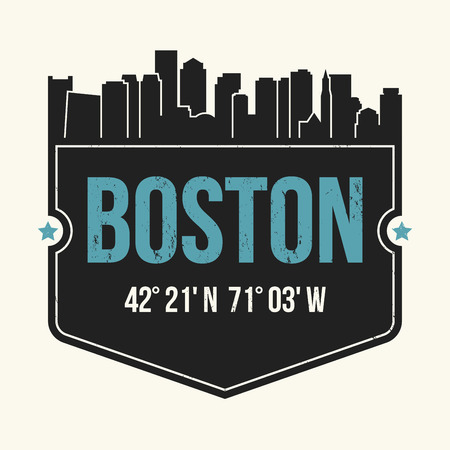 Boston city graphic, t-shirt design, tee print, typography, emblem. Vector illustration. Illustration