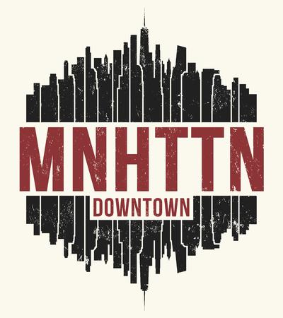 Manhattan New York graphic, t-shirt design, tee print, typography, emblem. 矢量图像