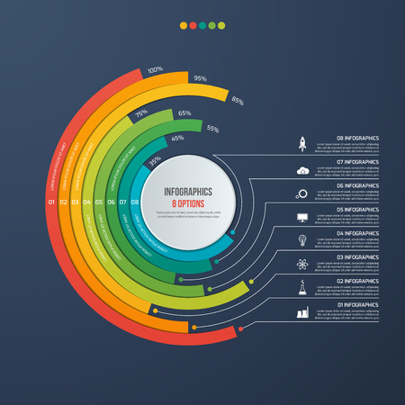 Circle informative infographic design with 8 options on dark background. Vector illustration.