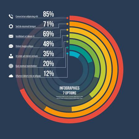 Circle informative infographic template 7 options on dark background. Vector illustration. Illustration