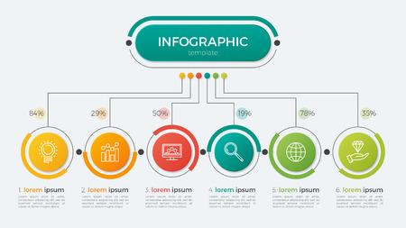 Präsentation Business-Infografik Vorlage mit 6 Optionen. Vektor-Illustration. Standard-Bild - 74367945