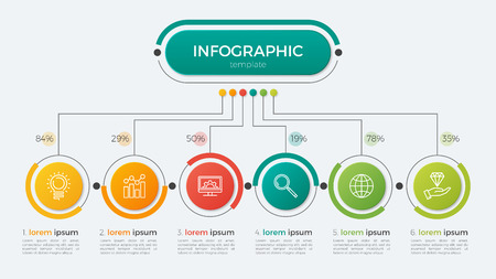 Presentation business infographic template with 6 options. Vector illustration.