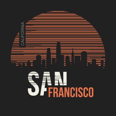 샌프란시스코 그래픽, 티셔츠 디자인, 티 프린트, 타이 포 그래피, 엠블럼 벡터 일러스트 레이 션.