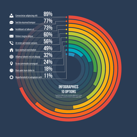 Informative infographic circle chart 10 options.