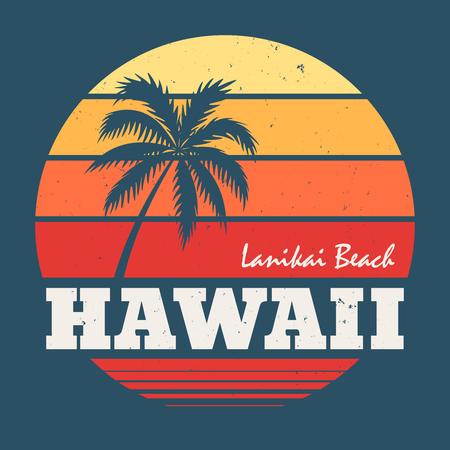 ハワイ ラニカイ ビーチ t シャツ印刷と椰子の木