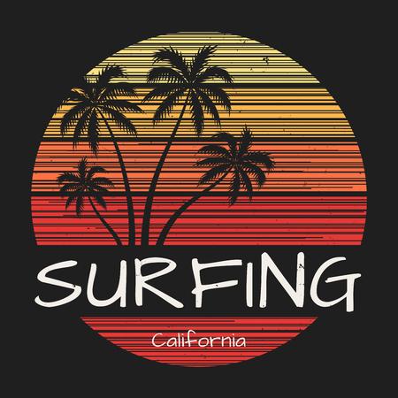 ヤシの木がカリフォルニア t シャツ印刷をサーフィン