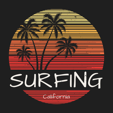 Surfing california tee print with palm trees Illustration