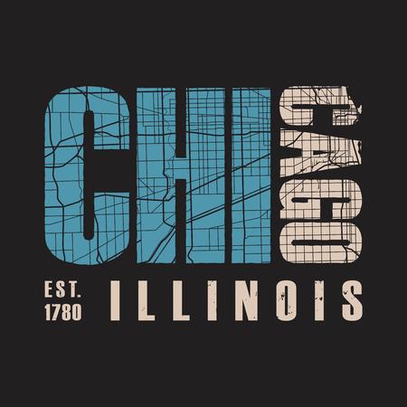 Chicago Illinois t shirt print. Vector illustration. 向量圖像