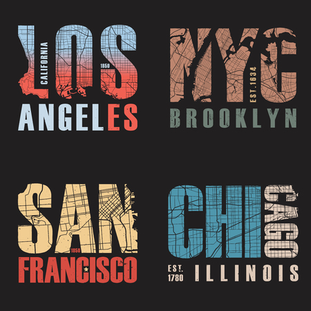 Set of us cities t-shirt designs. Vector illustration.
