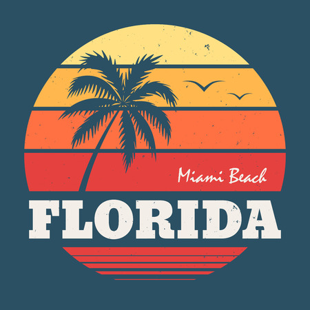 Florida Miami Beach tee print Фото со стока - 75783658