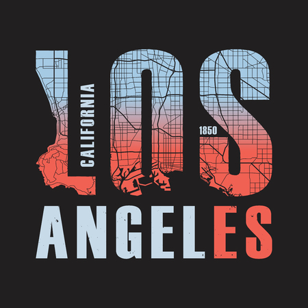 Los Angeles California tee print. Vector illustration. Illusztráció