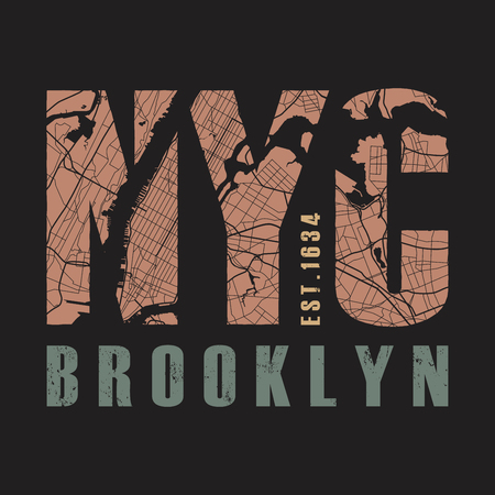 New York Brooklyn tee print.Vector illustration. Illustration