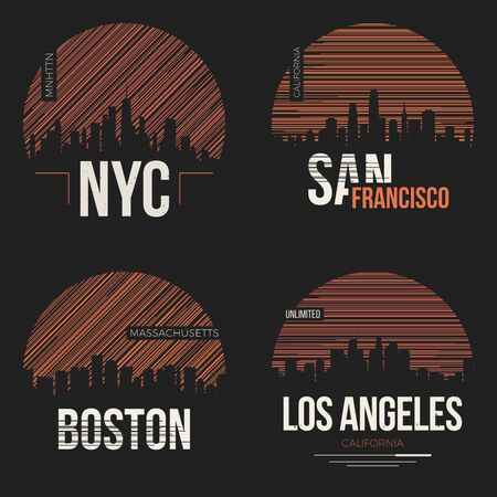 Set of t-shirt designs with us cities silhouettes Illustration