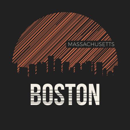 Boston city t-shirt design typography. Vector illustration.
