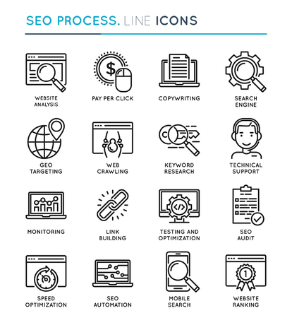 mobile website: SEO Search Engine Optimization process thin line icon set. Edita Illustration