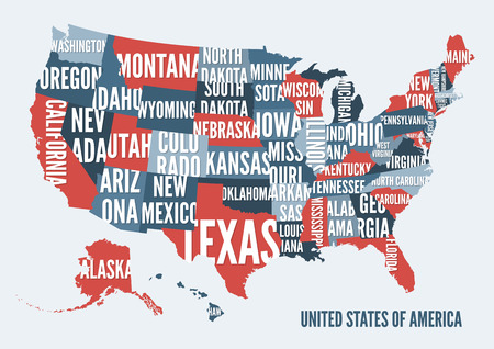 アメリカ合衆国の地図は、ポスターのデザインを印刷します。