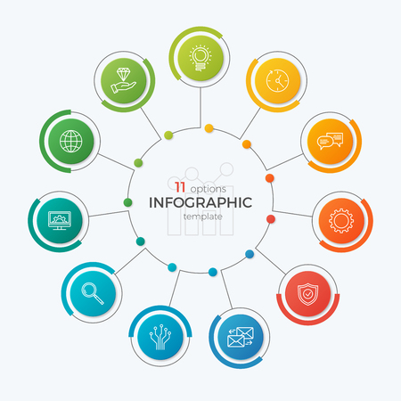 Presentation circle chart template with 11 options. Editable cha Illustration