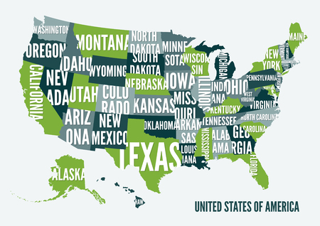 Poster Map Of United States Of America With State Names Black