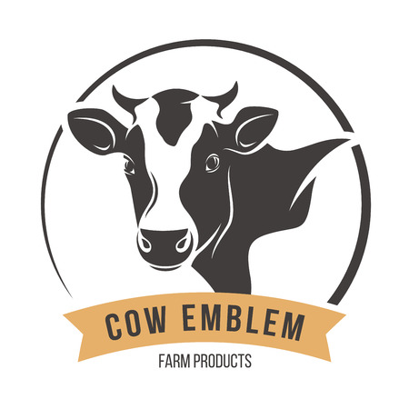 holstein: Cow head silhouette emblem label. Vector illustration.