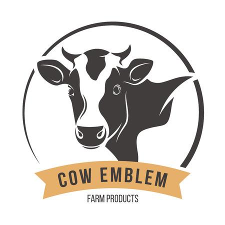 Tiquette de l'emblème de la tête de vache. Illustration vectorielle. Banque d'images - 77480700