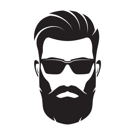 Bearded men face, hipster character. Vector illustration.