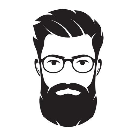 男性ひげを生やした顔、流行に敏感な文字。ベクトルの図。  イラスト・ベクター素材
