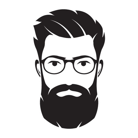 Bearded men face, hipster character. Vector illustration. Zdjęcie Seryjne - 77480705