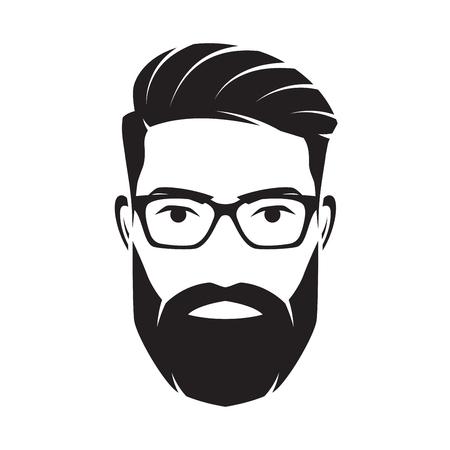 Visage d'homme barbu, personnage hipster. Illustration vectorielle. Vecteurs