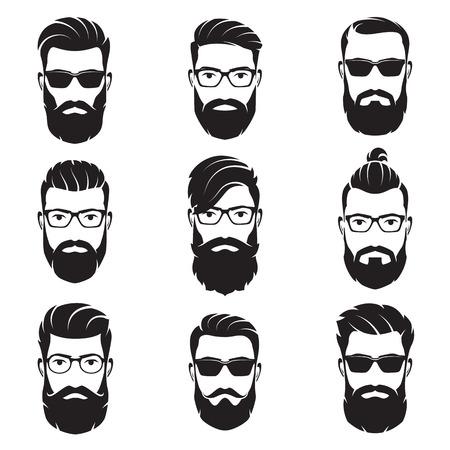 ベクトルのひげを生やした男性のセットに直面している流行に敏感な
