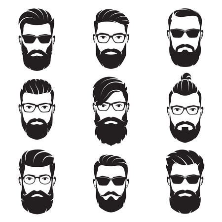 Set of vector bearded men faces hipsters
