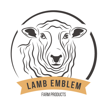 Lamb head silhouette emblem label. Vector illustration.
