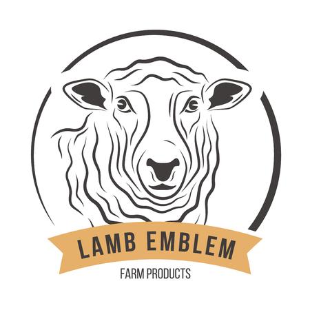 Lamb head silhouette emblem label. Vector illustration.