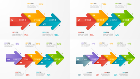 Set of timeline chart infographic templates with arrows