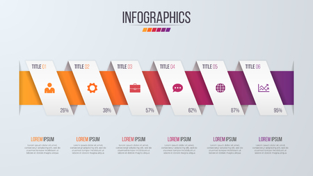 六つのステップで紙スタイル インフォ グラフィック タイムライン デザイン テンプレートです。