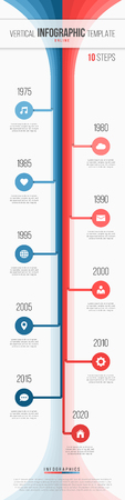 Vertical timeline web infographic template. 10 steps processes o