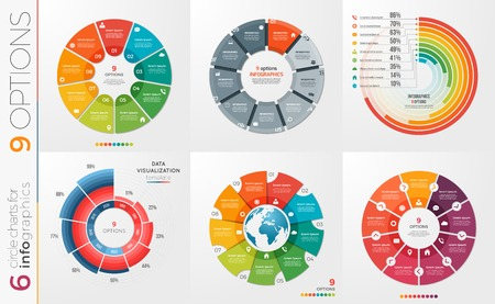 Collection of 6 vector circle chart templates 9 options. Illustration
