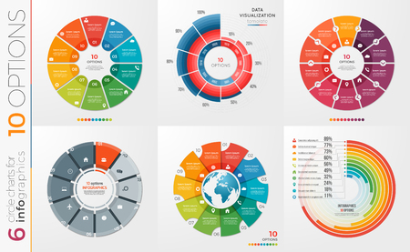 Collection of 6 vector circle chart templates 10 options. Illustration