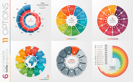Collection of 6 vector circle chart templates 11 options. Banco de Imagens - 77976495
