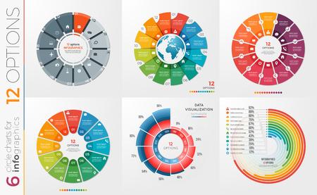 6 のコレクションは、円グラフのテンプレート 12 オプションをベクトルします。 ベクターイラストレーション