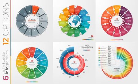 Collection of 6 vector circle chart templates 12 options. 版權商用圖片 - 77976507