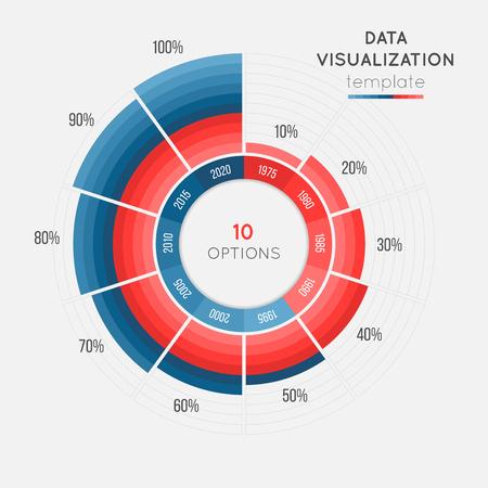 ベクトル円チャートのインフォ グラフィック テンプレート データの可視化の