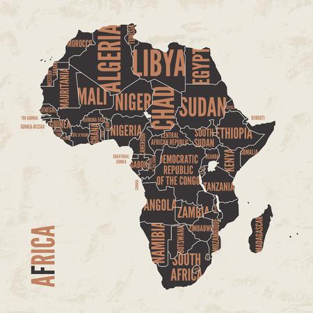 Africa vintage detailed map print poster design. Vector illustra 向量圖像