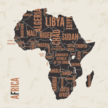 Africa vintage detailed map print poster design. Vector illustra Illustration