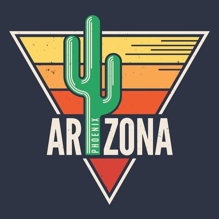 アリゾナ州 t シャツ デザイン、印刷、活版印刷、ラベル スタイルのサグを
