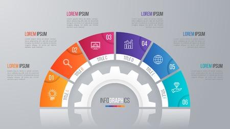 Modèle de diagramme de cercle vectoriel pour les options de l'infographie 6. Banque d'images - 78532780